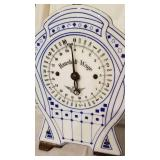 Antique German Haushalt Wage Scale with White and Blue Enamel Face