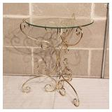 Brass Glass Top Side Table
