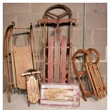 Antique Wooden Sled Collection
