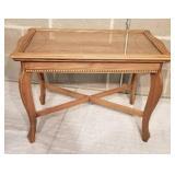 Mahogany Glass Tray Top Side Table