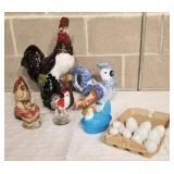 Collection of Chickens and Glass Eggs