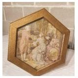 Romantic Tapestry Topped Gold Side Table