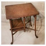 Antique Haywood Wakefield Wicker Side Table