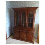 Cherry Wood China Cabinet with Lighted Display