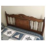 Vintage Solid Wood Adjustable Full to Queen Headboard and Frame