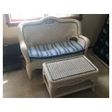 Matching Wicker Love Seat and Table Set