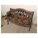 "50"" x 32"" x 24"" Wood Framed Steel Bench with Cushion"