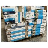 PALLET WITH MOEN FAUCETS COMPLETE COSTUMER RETURNS  VARIOS CONDITIONS SOME ARE USED