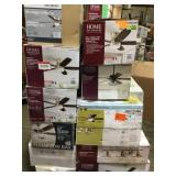Pallet with Ceiling Fans and lights customer returns review pictures