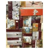 Tall Pallet of Home Decor and Hampton Bay Lightning various models Customer returns review pictures