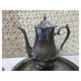 Silver Tea Set Pot, Tray, Sugar and...