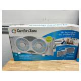 COMFORT ZONE Lot of Three- 9 in. Twin Window Fans with Reversible Airflow Control, Auto-Locking Expanders and 2-Speed Fan Switch in White + One- 9 in. 3-Speed Expandable Reversible Twin Window Fan wit