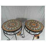 2 New Mosaic Tile Plant Stands