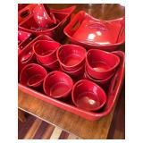 35 Piece Lot of Red Dishes by Rachel Ray and Temptations Ovenware By Tara
