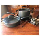 Set of Three Calphalon Pans with 2 Lids