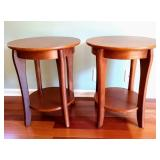 Pair of Round Wooden Accent Tables