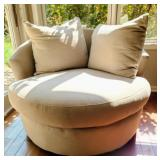 Large Taupe Swivel Chair