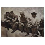 New York Construction Workers on Crossbeam Wood Print