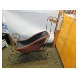 Vintage Wicker & Metal Decorative Sleigh