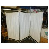 Winco White Medical Fabric Privacy Screen with Casters