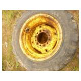 Qty of 3 Skid loader tires. 2 are 10:50-16.5 gel filled. 1 has cut on tread. Very heavy. Good 6 hole rims. As shown.