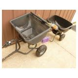 Qty of 2 fertilizer spreaders. Appear new. One needs wheel. As shown.