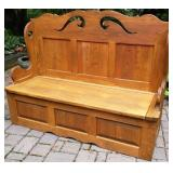 Spoon Carved Pine Entry Bench