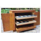 Mid Century Pine Three Drawer Entertainment Cabinet