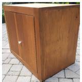 Mid-Century Pine Vinyl Album Record Cabinet