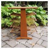 Mid-Century Pine Side Table Magazine Rack