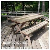Solid Red Wood Outdoor Picnic Table and Benches