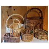 Handled Wicker Basket Collection, Lot of 8