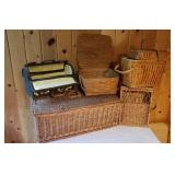 Handled and Lidded Wicker Basket Collection, Lot of 5