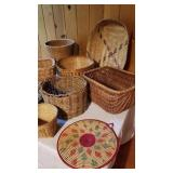 Open Wicker Basket Collection, Lot of 8