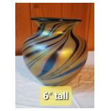 Lundberg Studio Art Glass Swirled Irridescent Vase R15