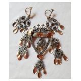 Sterling Norwegian Solje Wedding Pin and Earrings