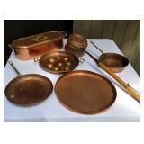 Vintage Copper Cookware plus Antique Bed Warmer