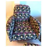 Pair of Contemporary Style Upholstered Chairs & Ottoman