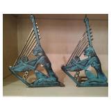 Set of Patina Metal Decorative Figural Bookends