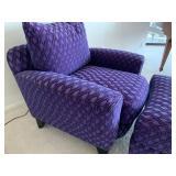 Beautiful Deep Purple Upholstered Chair and Ottoman