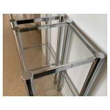 Pair of Matching Chrome and Glass Two-Tiered Tables