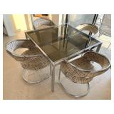 Mid Century Chrome/Glass Dining Table and Cantilever Chairs