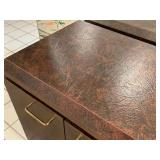 Large Console Cabinet with Faux Leather Finish