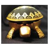 Adorable Black and Gold Turtle Figurine Bell
