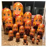 Large -19 Piece Russian Stacking Doll Set