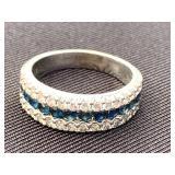 14k White Gold & Sapphire Ring
