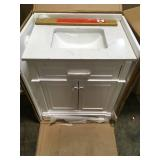 Home Decorator Melpark 30 in. W x 22 in. D Bath Vanity in White with Cultured Marble Vanity Top in White with White Sink not used