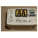 Full Box of 25 Western AA 12 Gauge Shotshells