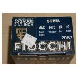 Full Box of 25 Fiocchi 20 Gauge Shotshells