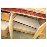 Rolling Wood Workstation with Drawers and Cabinets